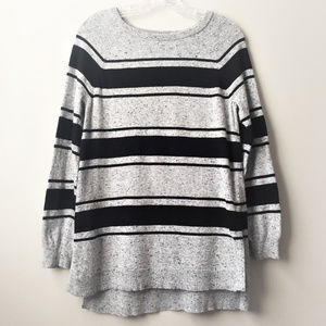 Vince Camuto High Low Sweater Gray Black Stripes